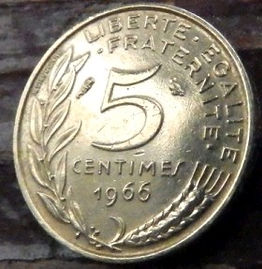 5 Сантимов, 1966 года, Франция,Монета, Монеты, 5 Centimes1966, RepubliqueFrancaise,France,Рослинний орнамент,растительный орнамент,floral ornament на монете,Girl,Девушкана монете.