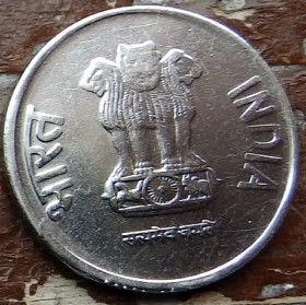 1 Рупия, 2014 года,Индия, Монета, Монеты, 1 Rupee 2014, India,Рослинний орнамент,Floral ornament,Растительный орнамент на монете,Emblem of India,Эмблема Индии на монете.