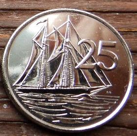 25 Центов, 2008 года, КаймановыОстрова, Монета, Монеты, 25 Twenty-Five Cents 2008, Cayman Islands, Корабель, Вітрильник,Ship, Sailboat, Корабль, Парусник на монете,Королева Elizabeth II, Елизавета IIна монете, Четвертый портрет королевы.