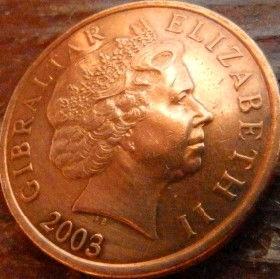 2 Пенса, 2003 года, Гибралтар, Монета, Монеты, 2 Two Pence 2003, Gibraltar,Sea view, Вид на море,Lighthouse, Маякна монете,Королева Elizabeth II, Елизавета IIна монете, Четвертыйпортрет королевы.