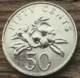 50 Центов, 2005 года, Сингапур, Монета, Монеты, 50 Fifty Cents 2005, Singapore, Квітка, Алламанда, Flower, Allamanda, Цветок, Алламанда на монете, Coat of arms of Singapore, Герб Сингапура на монете.