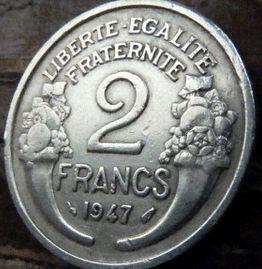 2 Франка, 1947 года, Франция,Монета, Монеты, 2Francs 1947,RepubliqueFrancaise, France,Ріг достатку, Cornucopia,Рог изобилия на монете,Girl,Девушкана монете.