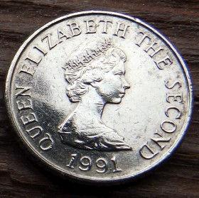 5 Пенсов, 1991 года, Джерси, Монета, Монеты, 5 FivePence 1991, Jersey,Вежа,Tower,Башня на монете,Королева Elizabeth II, Елизавета IIна монете, Второй портрет королевы.
