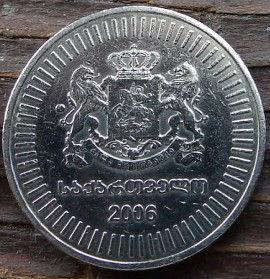50 Тетри, 2006 года,Грузия, Монета, Монеты, 50 Tetry2006, Republicof Georgia,Ornament, Орнаментна монете,Coat of arms of Georgia,Герб Грузии на монете.