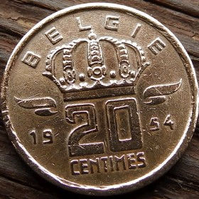 20 Сантимов, 1954 года, Королевство Бельгия, Монета, Монеты, 20 Centimes 1954, Belgium,Belgie,Корона, Crown, Гірник,Miner,Шахтерна монете,Ліхтар,Lantern, Фонарьна монете.