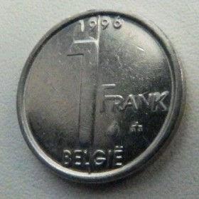 1 Франк, 1996 года, Королевство Бельгия, Монета, Монеты, 1 Frank1996, Belgium, Belgique, Belgie,КорольАльбертIIна монете.