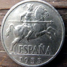 10 Сентимов, 1953 года, Испания, Монета, Монеты, 10 Diez Centimos 1953, Espana,Spain,Фауна, Bird,Птица, Eagle,Орел,Корона, Crown, Лев, Lion, Герб, Воин на коне,Warrior on horseback.