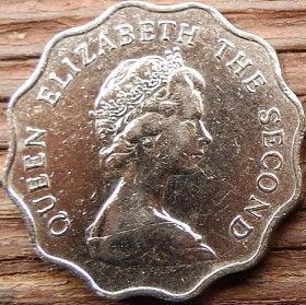 2 Доллара, 1981 года, Гонконг, Монета, Монеты, 2 Two Dollars 1981, Hong-Kong,Leo, Crown,Лев, Коронана монете,Королева Elizabeth II, Елизавета IIна монете,Второй портрет королевы.