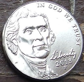 5 Центов, 2013 года,Соединенные Штаты Америки, Монета, Монеты, 5 Five Cents 2013,The United States of America,Monticello, Имение Монтичеллона монете, President Thomas Jefferson, Президент Томас Джефферсонна монете.