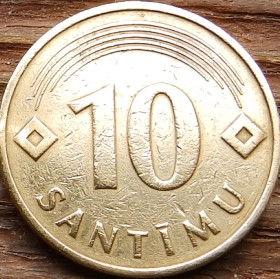 10 Сантимов, 1992 года, Латвия, Монета, Монеты, 10 Santimu 1992, Latvijas Republika,Coat of Arms,Герб,Fauna, Фауна,Lions, Львы, Sun,Cолнце, Stars,Звездына монете.