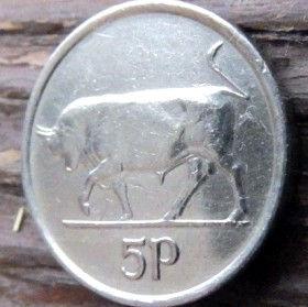 5 Пенсов, 1993 года, Ирландия, Монета, Монеты,Ireland, 5 P, Pence 1993, Eire, Тварина, Animal, Животное,Бик,Bull,Бык на монете,Harp,Арфа на монете.