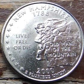 1/4 Доллара, 2000 года,Соединенные Штаты Америки, Монета, Монеты, Quarter Dollar2000,The United States of America,New Hampshire, Нью-Гэмпшир, Old Man of the Mountain, Старик-горана монете, President George Washington, Президент Джордж Вашингтонна монете.