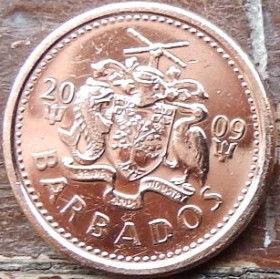 1 Цент, 2009 года, Барбадос, Монета, Монеты, 1 One Cent2009, Barbados,Тризуб з прапора Барбадосу, Trident from the flag of Barbados, Трезубец с флага Барбадоса на монете, Coat of arms ofBarbados, Герб Барбадосуна монете.