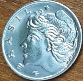 1 Сентаво,1975 года, Бразилия, Монета, Монеты, 1 Centavo 1975, Brasil, FAO, ФАО,Флора,Цукрова тростина,Flora, Cane,Флора,Сахарный тростник на монете,Дівчина,Girl,Девушка на монете.