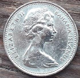 5 Центов, 1969 года, Багамские Острова, Монета, Монеты, 5 Five Cents 1969, Bahama Islands,Flora, Pineapple, Флора, Ананас на монете,Королева Elizabeth II, Елизавета IIна монете, Второй портрет королевы.