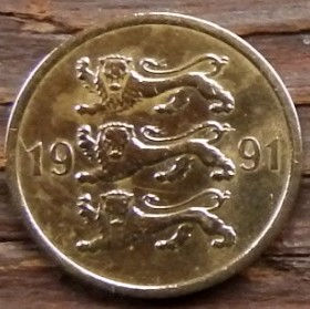 5 Сентов, 1991 года, Эстония, Монета, Монеты, 5 Senti 1991, Eesti Vabariik,Coat of Arms,Герб,Fauna, Фауна,Lions, Львы на монете.
