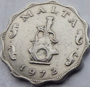 5 Милс, 1972 года, Мальта, Монета, Монеты, 5 Mils 1972, Malta,Рослинний орнамент,растительный орнамент,floral ornamentна монете,Fauna, Фауна,Fish, Рыбана монете.