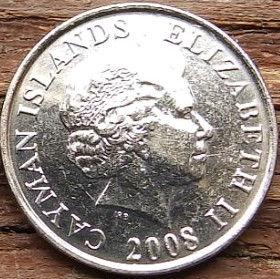 5 Центов, 2008 года, КаймановыОстрова, Монета, Монеты, 5 Five Cents 2008, Cayman Islands,Fauna,Shrimp,Фауна, Креветка на монете,Королева Elizabeth II, Елизавета IIна монете, Четвертый портрет королевы.