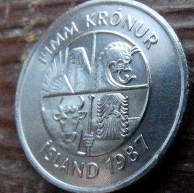 5 Крон, 1987 года, Исландия, Монета, Монеты, 5 Fimm Kronur 1987, Island,Iceland, Fauna,Фауна,Риба, Fish, Рыба, Dolphin,Дельфин на монете, Bull, Бык,Vulture,Гриф,Dragon, Дракон,Giant, Великан на монете.