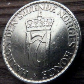 1 Крона, 1957 года, Норвегия, Монета, Монеты, 1 Krone1957, Norge,Crown,Корона,Fauna, Фауна, Лев, Lion на монете,Monogram, ВензельКороляГокона VII на монете.