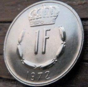 1 Франк, 1972 года, Герцогство Люксембург, Монета, Монеты, 1 Frank 1972, Letzeburg, Luxembourg,Рослинний орнамент,растительный орнамент,floral ornament,Корона, Crownна монете,Великий герцог Жан на монете.