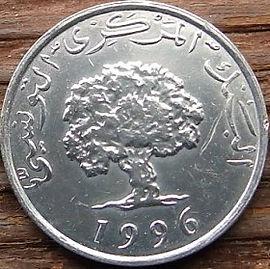 5 Миллимов, 1996 года, Тунис,Монета, Монеты, 5 Millims 1996,Tunisia,Флора, Flora,Гілка оливкового дерева, Olive, Ветвь оливковогодерева на монете,Дуб корковий,Cork oak,Дуб пробковый на монете.