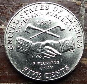 5 Центов, 2004 года,Соединенные Штаты Америки, Монета, Монеты, 5 Five Cents 2004,The United States of America,Acquisition of Louisiana, Приобретение Луизианына монете, President Thomas Jefferson, Президент Томас Джефферсонна монете.