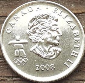 25 Центов, 2008 года,Канада, Монета, Монеты, 25 Cents 2008, Canada,Спорт, Сноуборд, Олімпіада Ванкувер, Sports, Snowboard, Vancouver Olympics, Спорт, Сноуборд, Олимпиада Ванкувер на монете, Королева Elizabeth II, Елизавета IIна монете, Четвертый портрет королевы.