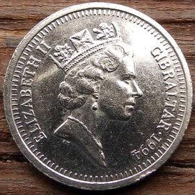 10 Пенсов, 1994 года, Гибралтар, Монета, Монеты, 10 Ten Pence 1994, Gibraltar,Вежа, Tower, Башняна монете,Королева Elizabeth II, Елизавета IIна монете, Третийпортрет королевы.