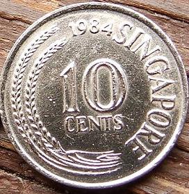 10 Центов, 1984года, Сингапур, Монета, Монеты, 10Cents 1984, Singapore, Flora, Spikelets, Флора, Колоски на монете, Морський коник, Sea Horse, Морской конек на монете.