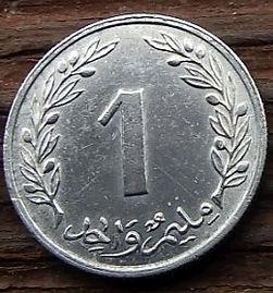 1 Миллим, 1960 года, Тунис,Монета, Монеты, 1 Millim 1960,Tunisia,Флора, Flora,Гілка оливкового дерева, Olive, Ветвь оливковогодерева на монете,Дуб корковий,Cork oak,Дуб пробковый на монете.