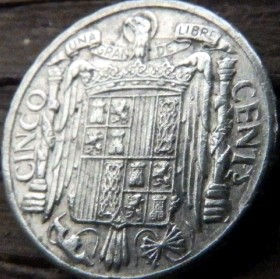 5 Сентимов, 1945 года, Испания, Монета, Монеты, 5 Cinco Centimos 1945, Espana,Spain,Фауна, Bird,Птица, Eagle,Орел,Корона, Crown, Лев, Lion, Герб, Воин на коне,Warrior on horseback.