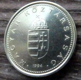 1 Форинт, 1994 года,Венгрия, Монета, Монеты,1Forint 1994,Hungary, Угорщина, Magyar,Crown, Корона, Coat of arms,Герб на монете.