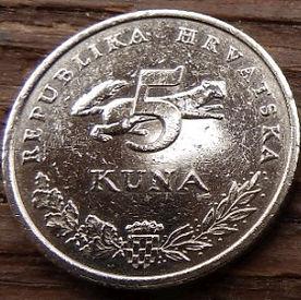 5 Кун, 2000 года,Хорватия,Монета, Монеты,5 Kuna 2000, Republika Hrvatska, Coat of Arms,Герб,Рослинний орнамент,растительный орнамент,floral ornament, Fauna, Фауна,Marten, Куницана монете, Ursus Arctos,Ведмідь,Bear, Медведьна монете.