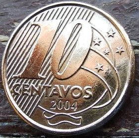 10 Сентаво,2004 года, Бразилия, Монета, Монеты, 10 Centavos 2004, Brasil,Вершник на коні,Rider on horseback,Всадник на коне на монете, Emperor of Brazil Pedro I, Император Бразилии Педру I на монете.