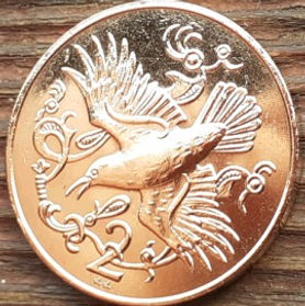 2 Пенса, 1980 года, Остров Мэн, Монета, Монеты, 2 Two Pence 1980, Isle of Man, Fauna, Фауна, Пташка, Bird, Птица,Red-billed jackdaw,Красноклювая галка на монете, Королева Elizabeth II, Елизавета II на монете, Второй портрет королевы.