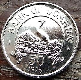 50 Центов, 1976 года, Уганда,Монета, Монеты, 50 Fifty Cents 1976, Uganda,Eastern crowned crane, Восточный венценосный журавль на монете, Coat of arms of Uganda,Герб Угандына монете.