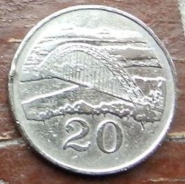 20 Центов, 1983 года, Зимбабве,Монета, Монеты, 20 Cents 1983, Zimbabwe,Міст через річку Саве, Bridge over the river Save,Мост через реку Савена монете, Bird of Zimbabwe,Птица Зимбабвена монете.