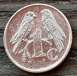 1 Цент, 2000 года, ЮАР, Монета, Монеты, 1 Cent 2000, South Africa, Isewula Afrika, Фауна, Пташка, Fauna, Bird, Фауна, Птичка на монете, Coat of arms of South Africa,  Герб ЮАР на монете.