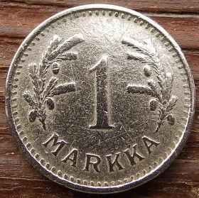 1 Марка, 1939 года, Финляндия, Монета, Монеты, 1 Markka 1939,Suomi, Finland,Гілка сосни,Pine branch, Ветка сосны на монете,Coat of Arms,Герб, Fauna, Фауна, Lion with sword, Лев с мечом на монете.