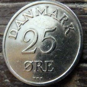 25 Эре, 1953года, Дания, Монета, Монеты, 25 Ore 1953, Danmark,Рослинний орнамент,растительный орнамент,floral ornament, Crown,Корона,Monogram, ВензельКороляФредерика IX на монете.