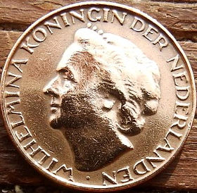 1 Цент, 1948года, Нидерланды, Монета, Монеты, 1Сent1948, NEDERLAND,Королева Вильгельмина на монете.