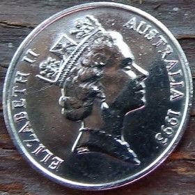5 Центов, 1993 года,Австралия, Монета, Монеты, 5Cents1993, Australia,Echidna Australian,Австралийская ехидна на монете, Королева Elizabeth II, Елизавета IIна монете, Третий портрет королевы.