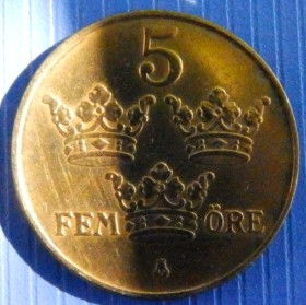 5 Эре, 1950 года, Швеция, Монета, Монеты, 5 Ore 1950, Sverige, Sweden,Crown,Корона,Monogram, ВензельКороляГустава V на монете.