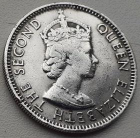 25 Центов, 1976 года,Белиз, Монета, Монеты, 25 Cents 1976,Belize, Королева Elizabeth II, Елизавета IIна монете, Второй портрет королевы.
