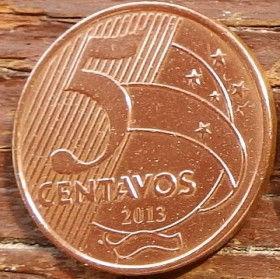 5 Сентаво,2013 года, Бразилия, Монета, Монеты, 5 Centavos 2013, Brasil,Фауна, Пташка,Fauna, Bird,Фауна, Птичка на монете, Tiradentes, Тирадентис на монете.