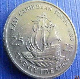 25 Центов, 1986года, Восточно-Карибские штаты, Монета, Монеты, 25 Twenty-Five Cents1986, East Caribbean States, Корабель, Вітрильник,Ship, Sailboat,Корабль, Парусник на монете,Королева Elizabeth II, Елизавета IIна монете, Второй портрет королевы.
