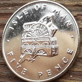 5 Пенсов, 1976 года, Остров Мэн, Монета, Монеты, 5 Pence 1976, Isle of Man, Technique, Laxey Wheel, Техника, Колесо Лакси на монете, Королева Elizabeth II, Елизавета II на монете, Второй портрет королевы.