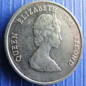 10 Центов, 1981 года, Восточно-Карибские штаты, Монета, Монеты, 10 Ten Cents 1981, East Caribbean States,Корабель,Вітрильник,Ship, Sailboat,Корабль, Парусник на монете,Королева Elizabeth II, Елизавета IIна монете, Второй портрет королевы.