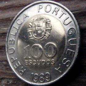 100 Эскудо, 1989 года, Португалия, Монета, Монеты, 100 Escudos 1989, Republica Portuguesa,Portugal,Coat of Arms, Герб на монете,Pedro Nunes,Педру Нуниш на монете.
